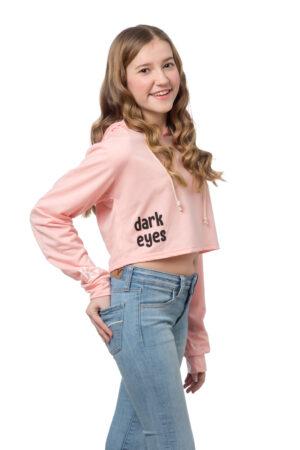 Pink Crop Hoodie Pullover Sweatshirt