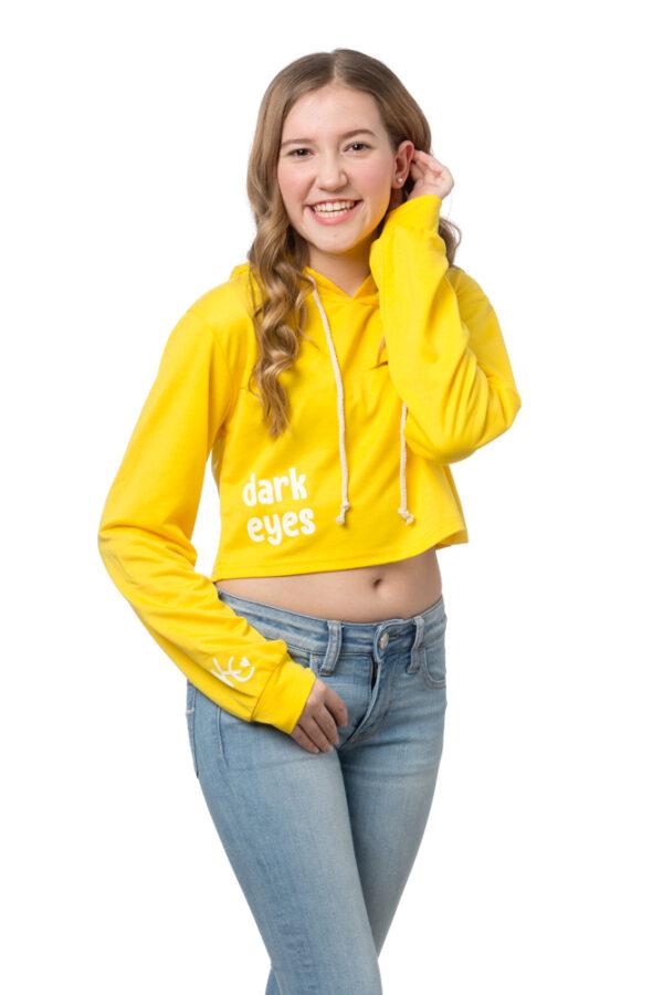 Gold Crop Hoodie Pullover Sweatshirt