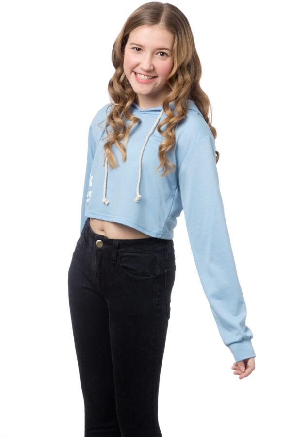 Blue Crop Hoodie Pullover Sweatshirt