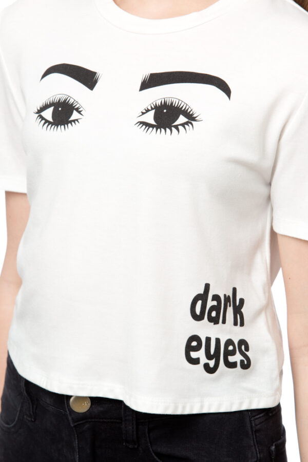 "WHITE TEE ""EYES"" white short sleeve shirt"